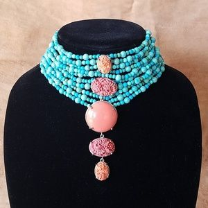 Turquoise and carved coral choker
